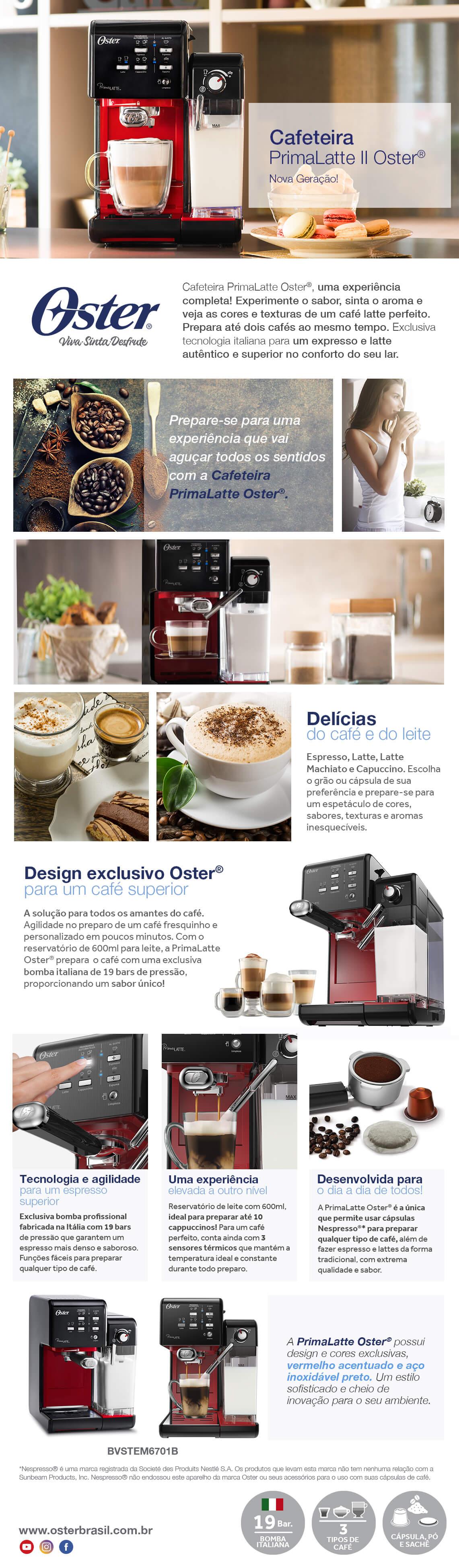 Cafeteira Espresso Multibebidas Oster PrimaLatte 0,6L Vermelha 220V
