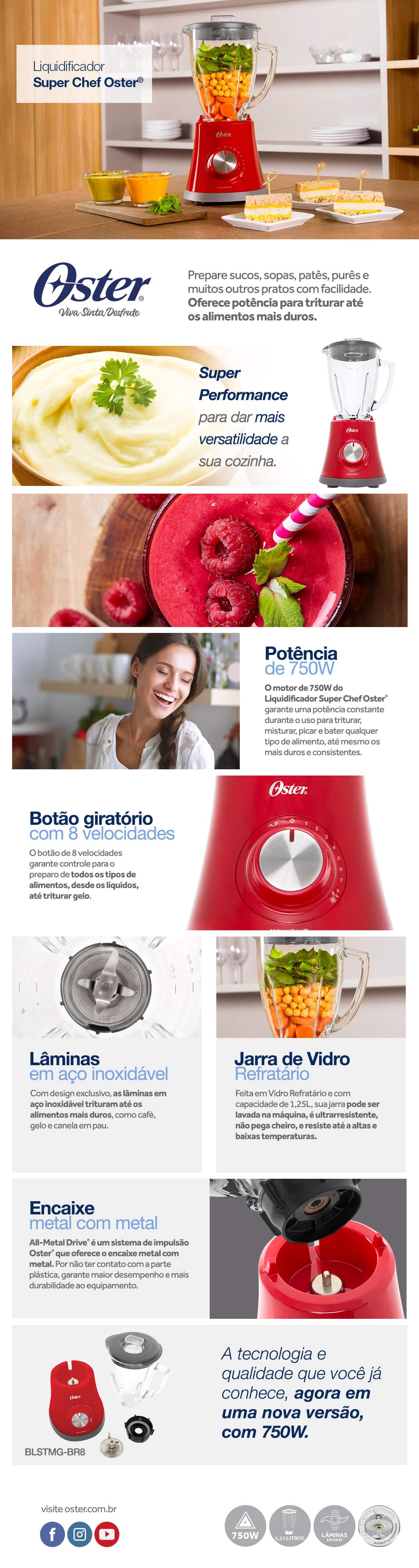 Liquidificador Oster Super Chef 1.25L 750W 220V Vermelho (