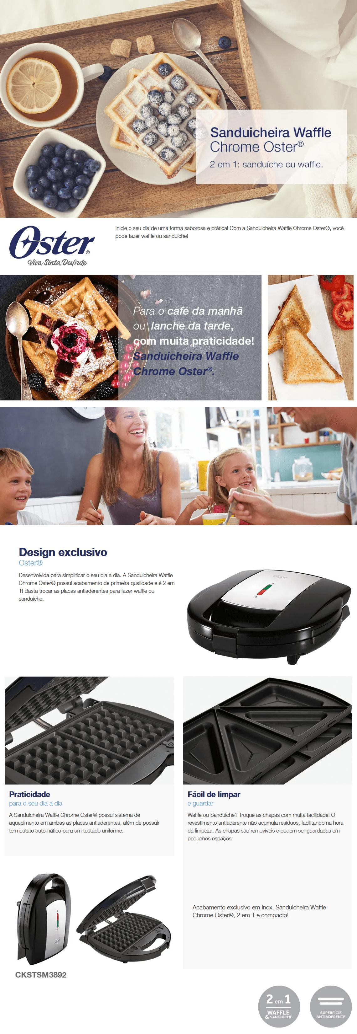 Sanduicheira e Máquina de Waffles Oster Chrome 700W