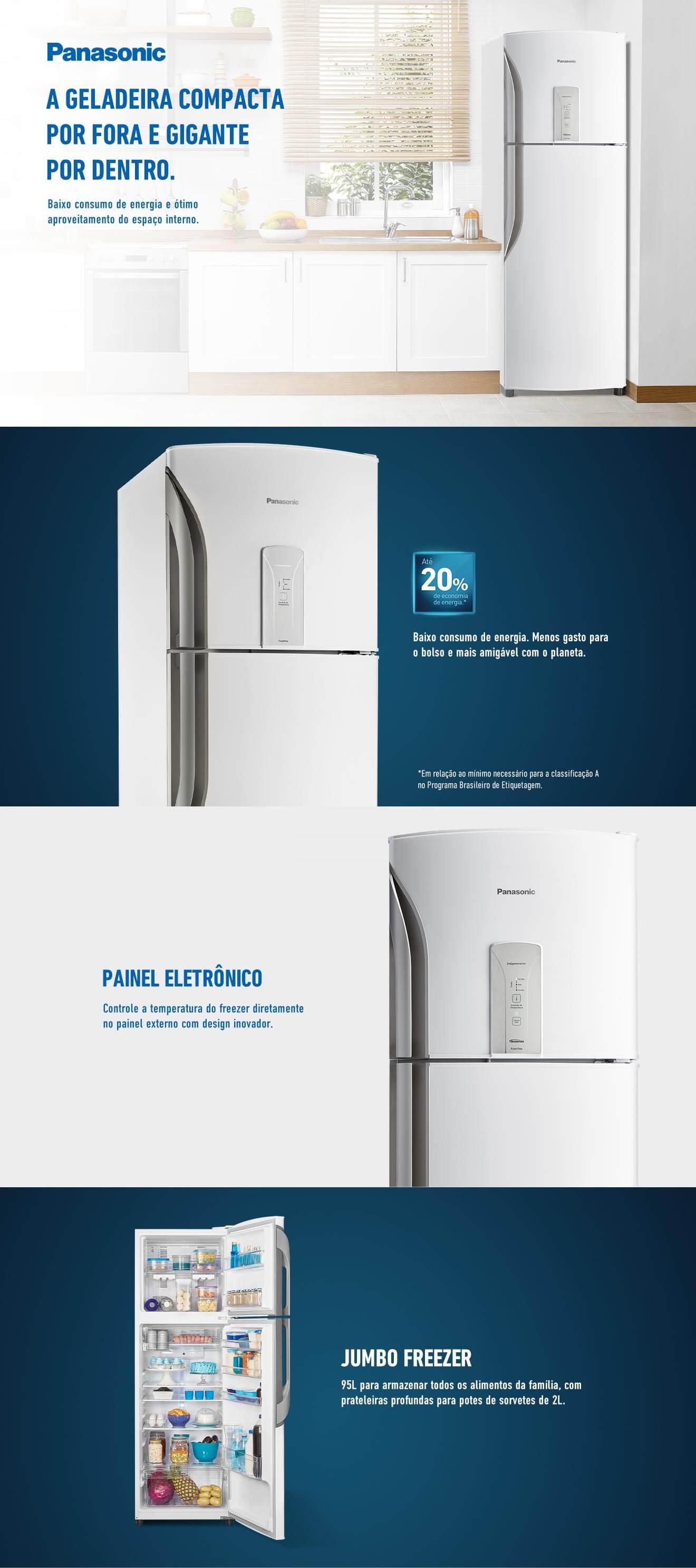 Refrigerador Panasonic BT40 387 Litros Branca NR-BT40BD1WB 220V