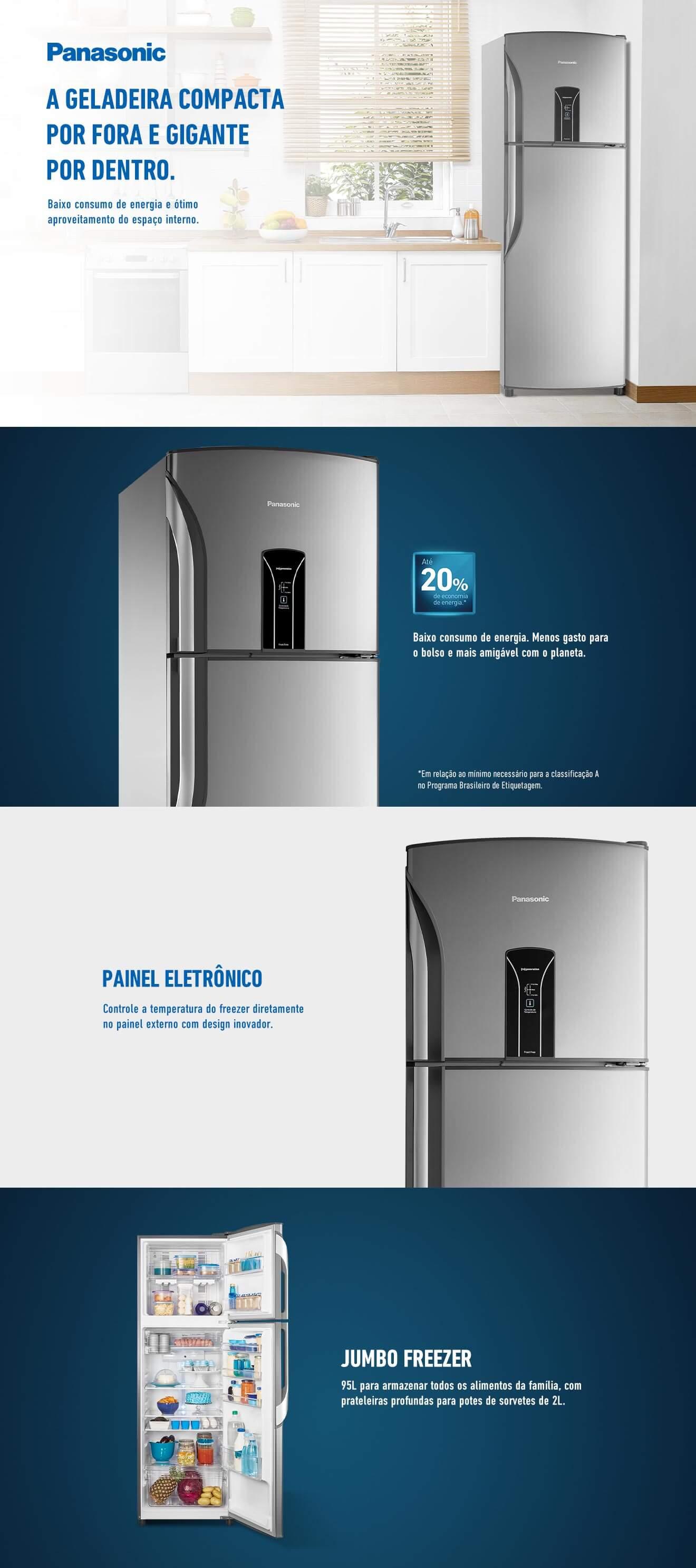 Refrigerador Panasonic BT40 387 Litros Inox NR-BT40BD1XB 220V