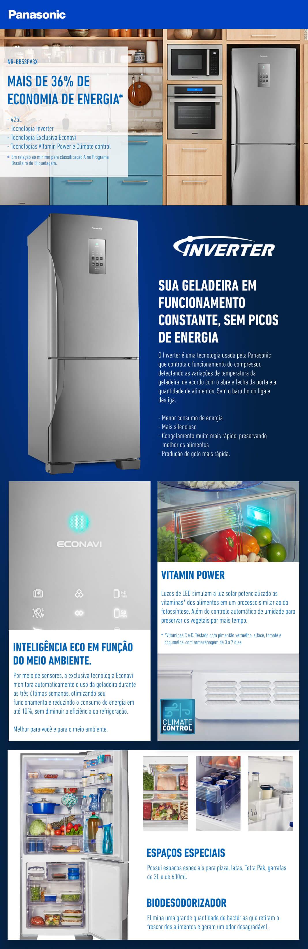 Refrigerador Panasonic BB53 425 Litros Inox NR-BB53PV3XB 220V