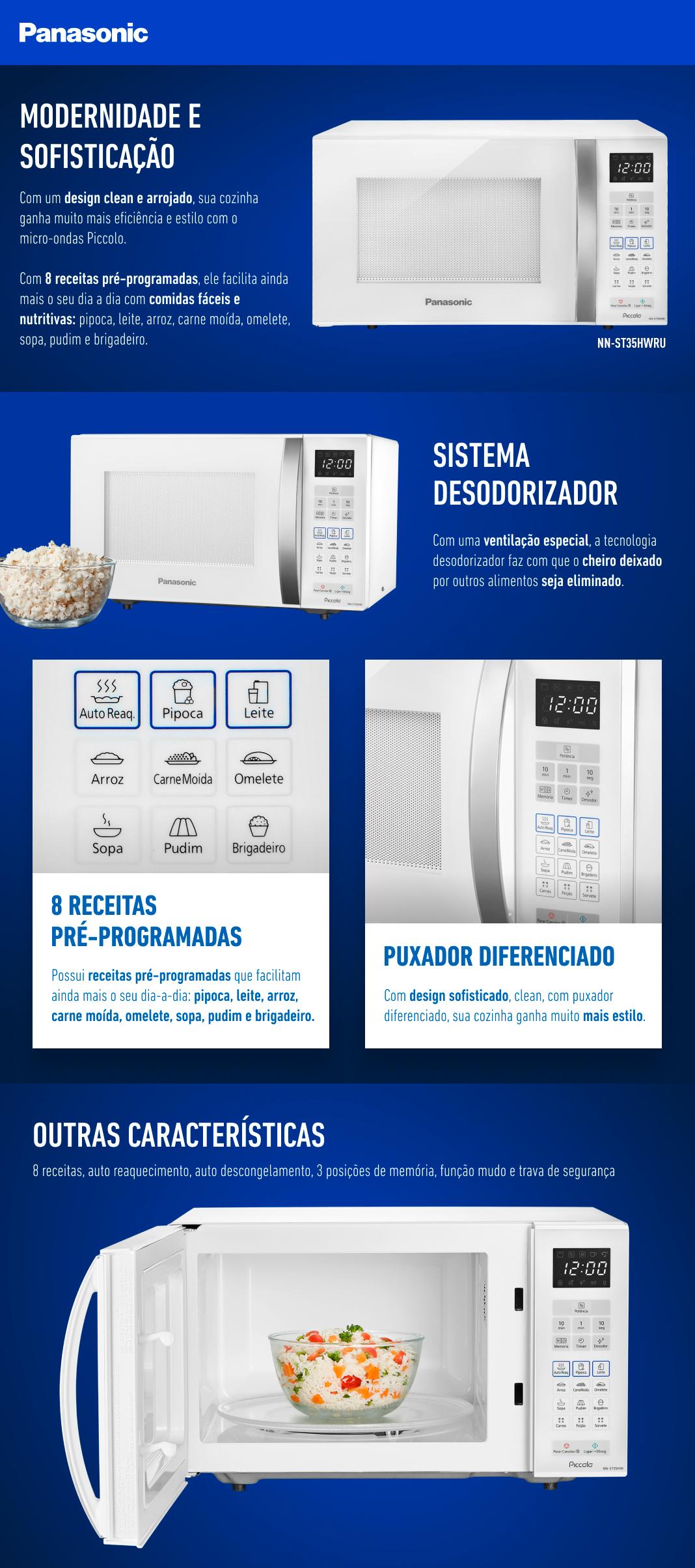 Micro-ondas Panasonic Piccolo 25L Branco 110V ST35HW