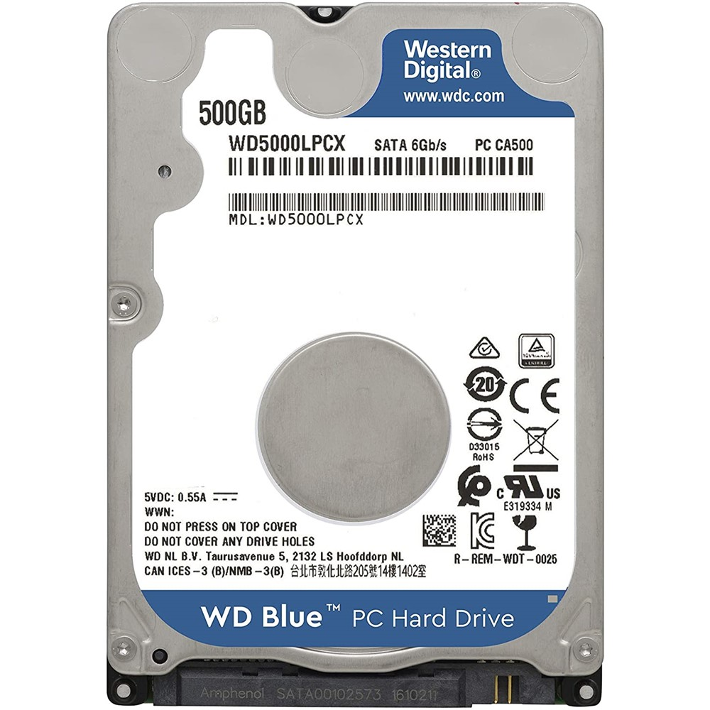 HD Interno WD p/Notebook 500GB SATA 3 5.4RPM Blue WD5000LPCX